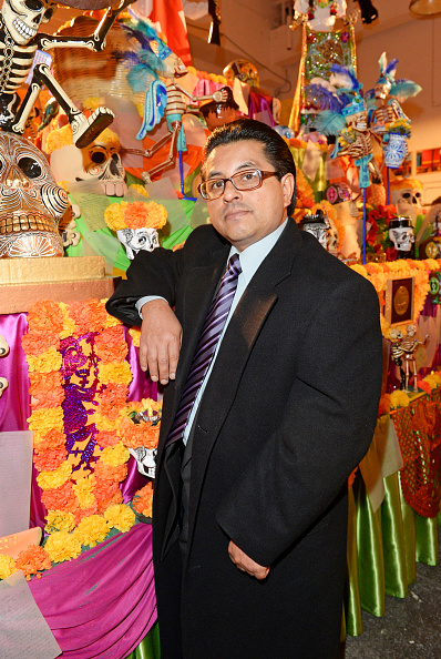 LONDON, ENGLAND - OCTOBER 29: Mexican artist Rodolfo Villena Hernandez attends the Day of the Day of the Dead Festival, produced by the Mexican Embassy in the UK and supported by Jose Cuervo, at Oxo Tower Wharf on October 29, 2014 in London, England. (Photo by David M. Benett/Getty Images for Day of the Dead Festival)